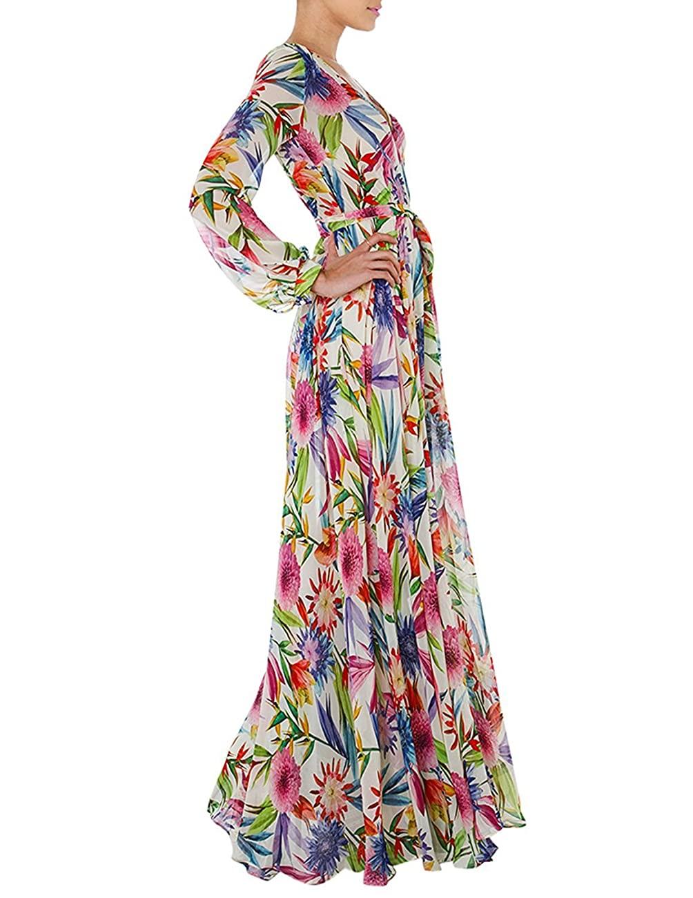 Haoyihui Vintage Style Chiffon V Neck Puff Pleated Wrap Long Maxi Full-Skirted Dress 3