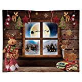 Funnytree 10x8FT Durable Fabric Soft Christmas Night Window Photography Backdrop Xmas Village Toy Pajama Party Decoration Winter Children Background Photo Booth Washable (Tamaño: 10'x8')