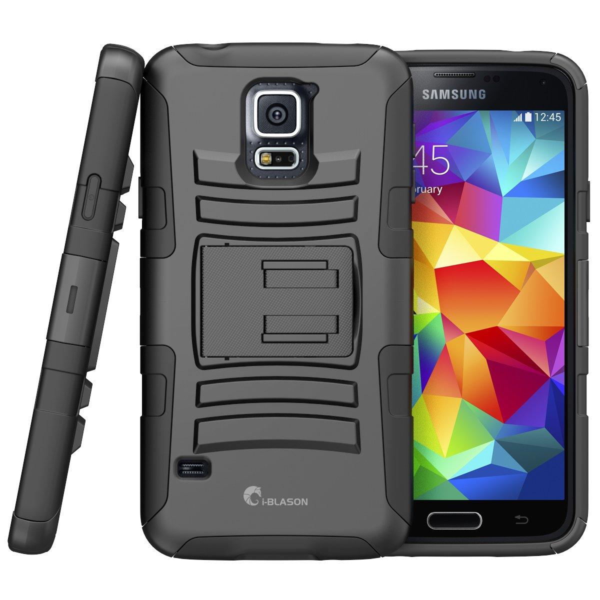 i-Blason Samsung Galaxy S5 Case - Prime Series Dual Layer Holster Case with Kickstand and Locking Belt Swivel Clip (Samsung Galaxy S5, Black)