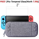 Nintendo Switch Slim Case and Tempered Glass Screen Protector, Protective Travel Carrying Case with 10 Game Cartridges, Hard Shell Pouch for Nintendo Switch Console and Accessories by MayBest (Grey) (Color: Grey)