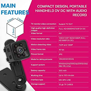 [Newest 2018] Hidden Spy Camera 1080P FullHD Home-Mini Camera Security Motion Spy Cam Night Vision Audio Mounts Sports Action Cam with Mounting Access