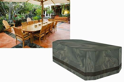 (A1558 Ascot) cubierta de protección para 10 Plazas juego de muebles Rectangular, verde, poliéster Premium