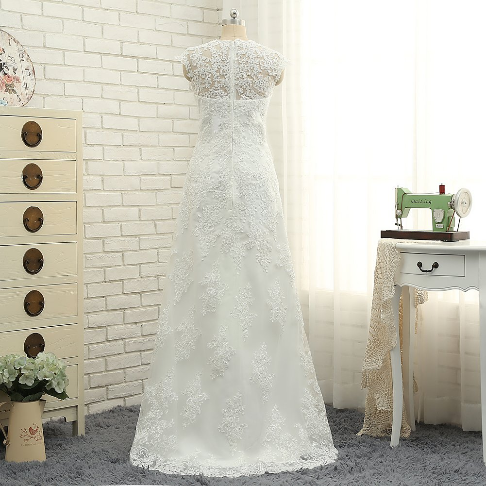 CustomDress Vintage High Low Wedding Dress V-Neck Capped Bridal Gown Plus size 5