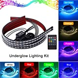 Underglow Atmosphere Decorative Light Strip Kit Running RGB Multi-Color Under Car Musical Sync Light Tube Underbody Sound Actived Wireless Remote Control 60-90cm MIHAZ 4Pcs LED Undercar Glow Lights