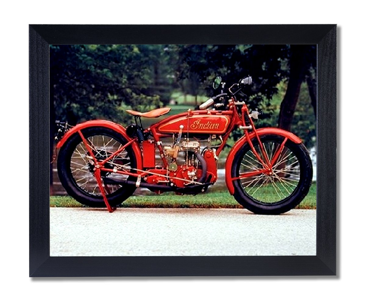 Old Red Vintage Indian Motorcycle Picture Black Framed Art Print 0