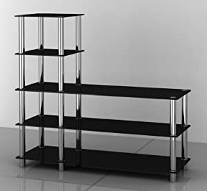 New L Shpaed Black Glass & Stainless Steel Display Stand       Customer reviews and more information