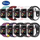 GHIJKL Sports Band Apple Watch 38mm 42mm, Soft Silicone Replacement iWatch Wristband Apple Watch Sport, Series 1, 2, 3-10 Pack-38mm (Color: 10-Pack, Tamaño: 38mm)