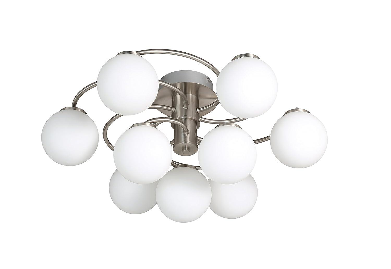 WOFI Deckenleuchte, 9-flammig, Serie Troja, 9 x LED, 4 W, Höhe 27 cm, Durchmesser 60 cm, Kelvin 3000, Lumen 370, nickel matt 9973.09.64.0000