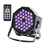 U`king LED Black Light 72W UV Lighting Par Lights Glow in the Dark Supplies Blacklight For Christmas and Birthday Party, Wedding Stage Controlled By IR Remote and DMX (Color: black, Tamaño: 1 pack)