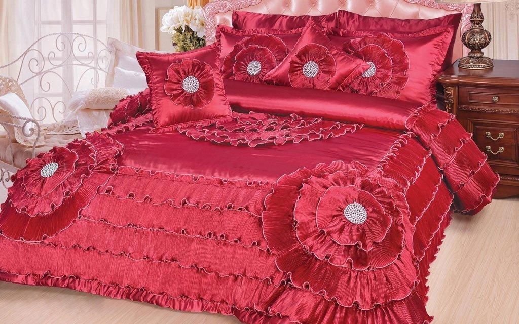 DaDa Bedding Plum Quinceanera Satin Comforter Set, Victorian, 5 Pieces, Purple
