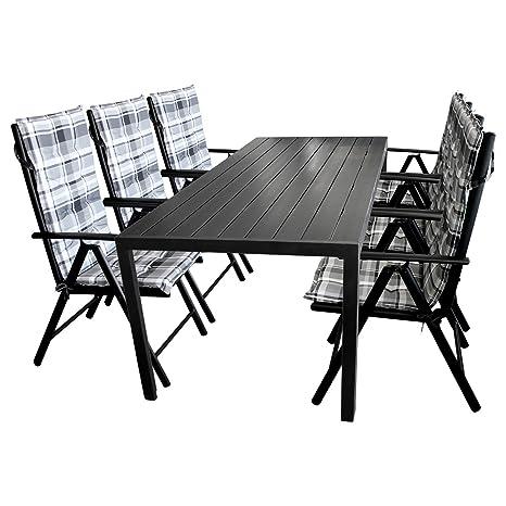 13tlg Gartengarnitur Gartenmöbel Set Gartentisch 205x90cm mit Polywood Tischplatte Hochlehner in 7 Positionen verstellbar mit 2x2 Textilenbespannung inkl. Polsterauflagen