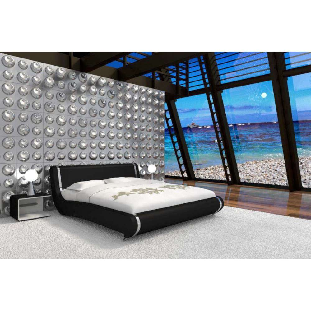 JUSThome Mare Schwarz Polsterbett Ekoleder Größe 140×200 cm günstig online kaufen