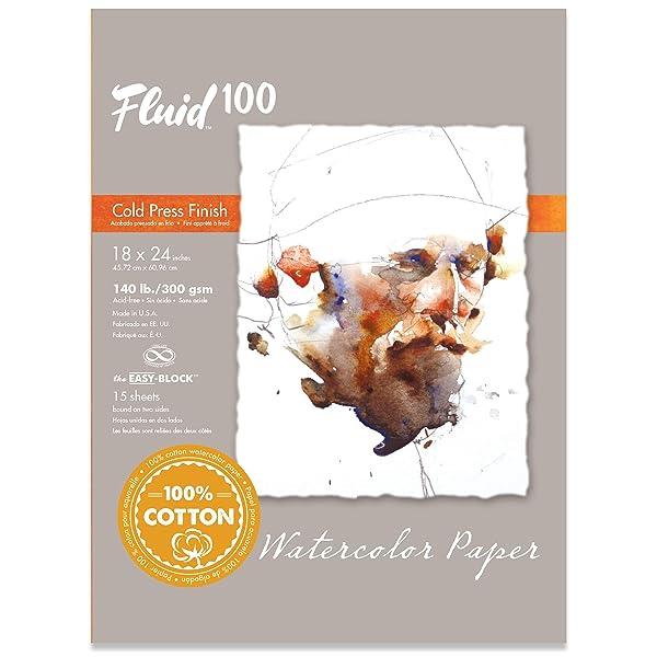Speedball Art Products 811236 Fluid 100 Artist Watercolor Paper 140 lb Cold Press, 18 x 24 Block, 100% Cotton Natural White (Color: 100% Cotton Natural White, Tamaño: 18 x 24  BLOCK)