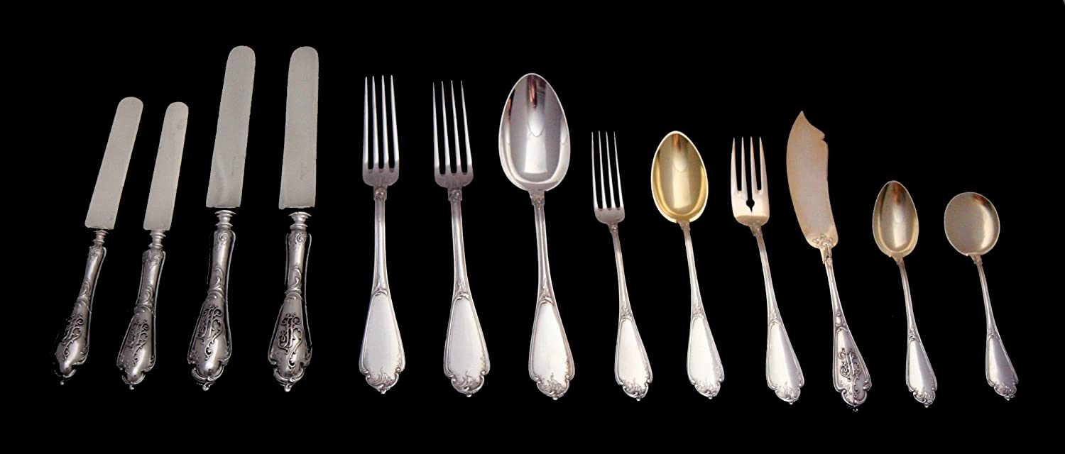 A 296 Piece, French 19th Century Sterling Silver and Vermeil Flatware Set, Rocaille Pattern, Complete with 13 Anti-tarnish Wraps (Circa 1850) !!