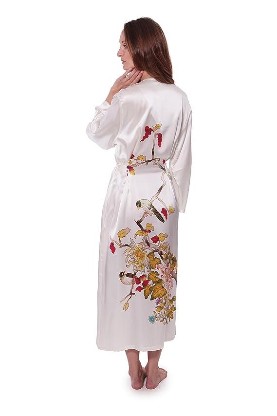 Women's White Silk Robe Bathrobe Hand Painted TexereSilk