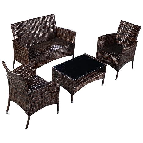 4pcs Conjunto muebles de jardín de ratán hierro Mesa con vidrio+Sillones Marrón