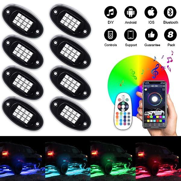 8Pcs RGB LED Under Body Light Rock Lamp Offroad Truck Boat bluetooth Wireless