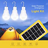 Solar Panel Lighting Kit Dusk to Dawn, 3 Bulbs LED Camping Light with Solar Panel, Portable Outdoor Solar Energy Lamp Lighting for Emergency Hurricane Power Outage Hiking Camp Tent Garden (Color: Three Bulbs)