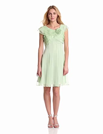 London Times Women's Side Ruched Printed Dress, Mint, 4