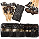 CoKate Makeup Brush Set, 32PC Eyebrow Shadow Makeup Brush Set with Pouch Bag Wooden (Color: wooden)