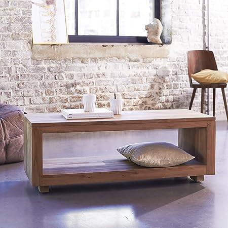 Couchtisch Tisch aus massivem Teak rechteckig 110x60 massiv holz Neu Tikamoon