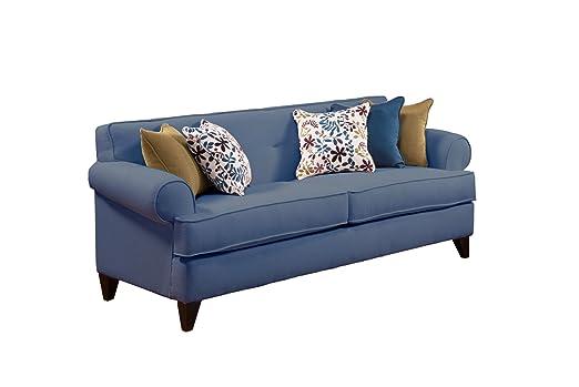 Furniture of America BCH-BONNIE-BLU-S Province Chenille Sofa, 88-Inch, Sea Blue