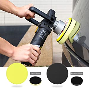 TOPVORK Polisher, 7.5A Dual Action Polisher, 6-inch Variable Speed Random Orbit Polisher with D-Handle & Side Handle, 6400RPM, Packing Bag, 2 Foam Disc for Car Polishing and Waxing (Color: Black & Yellow)