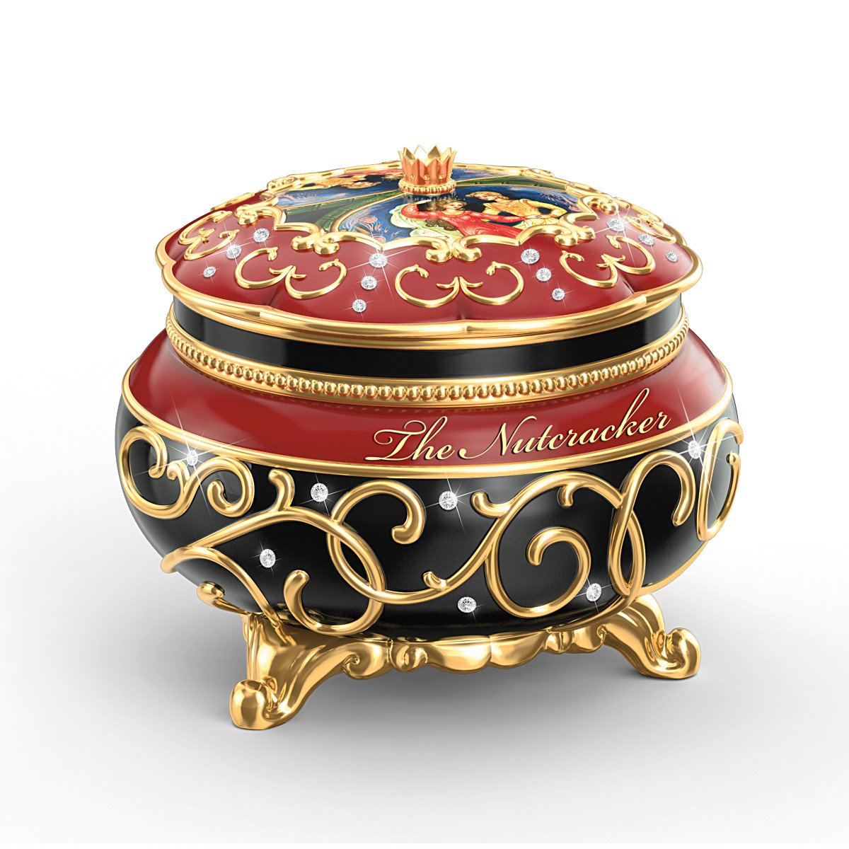 Clara And The Nutcracker Heirloom Porcelain Music Box with Russian Style Art by The Bradford Exchange 4