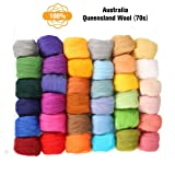 Jeteven 36 Colors Fibre Wool Yarn Roving Spinning Sewing Trimming Merino Wool Fibre Roving for Needle Felting (Tamaño: 36 Color(3g))
