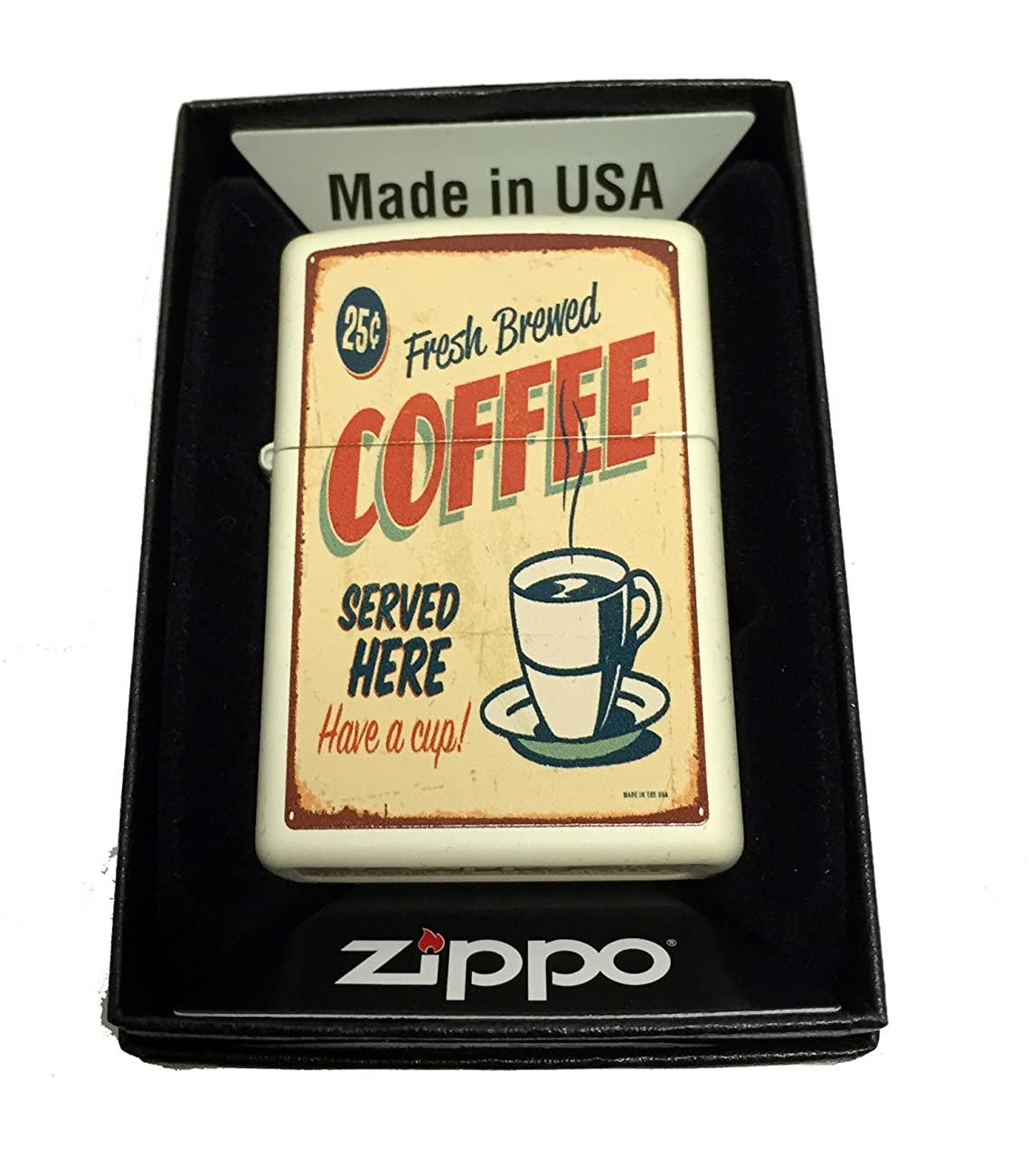 Zippo Custom Lighter - 1950's Vintage Coffee Poster - Regular Cream Matte 0