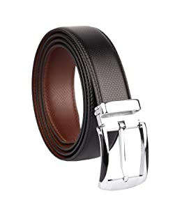 CLUB SPUNKY Men's Reversible PU-Leather Formal Belt (Black/Brown, Free Size)