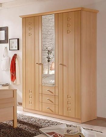 Kleiderschrank 3-turig mit Spiegel Buche Dekor