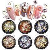 Nail Crystals Gems 3D Nail Art Rhinestones Nail Jewelry Flatback Rhinestones Nail Diamonds Charms Metal Nail Rivets Studs Nail Art Supplies Decorations Accessories (6 Boxes)