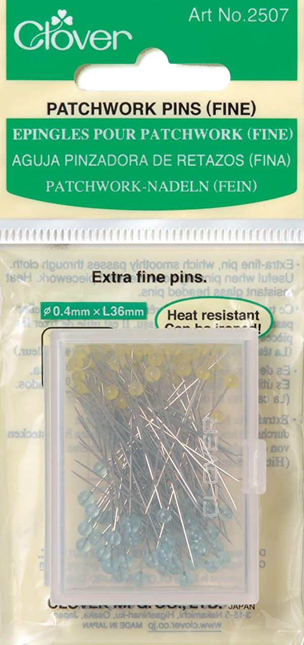 Clover Q2507 Patchwork Pins-Fine, 100 Per Pack (Color: Yellow, Tamaño: By The Yard)