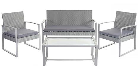 Salon de jardin en rotin coloris gris avec 3 coussins -PEGANE-