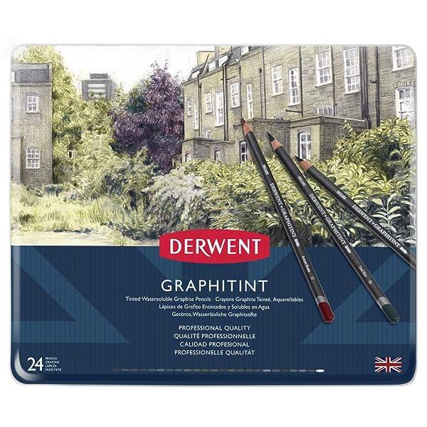 Derwent Graphitint Pencils, Metal Tin, 24 Count (0700803) (Color: Multi, Tamaño: 24 Count)