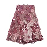 Aisunne African Lace Fabrics 5 Yards Nigerian French Lace Fabric White with 3D Flower Fashion Embroidered Beading and Sequin for Wedding Party Dresses (Lotus Root Pink) (Color: Lotus root pink)