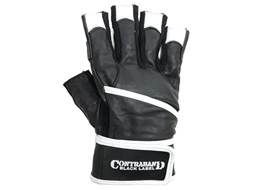 Contraband Black Label 5930 Premium Leather Weight Lifting Gloves w/ Wrist-Lock Wrist Supporting Wrap (PAIR) : Sports & Outdo