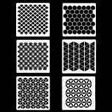 6 Set Geometric Stencils 7 x 7 Inch - Art Painting Templates for Scrapbooking Drawing Tracing DIY Furniture Wall Floor Decor . (Color: 7*7 Inch Geometric Stencils, Tamaño: 7
