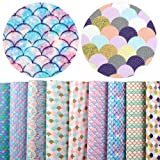 David Angie 9 Pcs 8 x 13 Inch Mermaid Scale Faux Leather Sheet Synthetic Fish Scale Leather Fabric for Hair Bow Head Band Bow Ties Making (Color: Pattern 2)