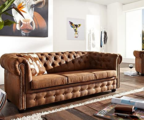3-Sitzer Chesterfield Braun 200x92 cm Antik Optik Sofa