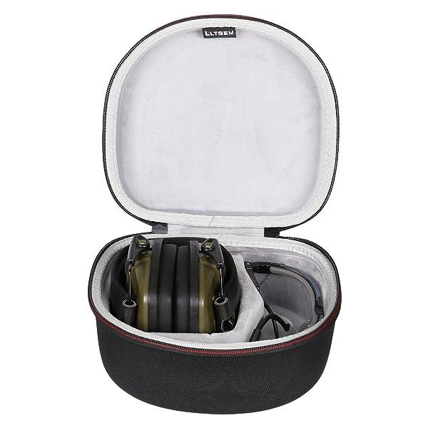 LTGEM Case for both Howard Leight by Honeywell Impact Sport Earmuff and Genesis Sharp-Shooter Safety Eyewear Glasses (R-03570) - Black