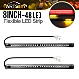 Partsam 2Pack Red + Yellow 3528 + 3014 48SMD LED Motorcycle Light Strip For Taillight Brake Light Turn Signal Lamp DC 12V