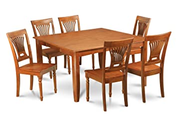 East West Furniture PFPL9-SBR-W 9-Piece Formal Dining Table Set