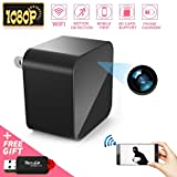 1080P WiFi Spy Camera, Hidden Camera, Mini Camera, Nanny Camera, USB Charger Camera with Motion Detection Loop Recording for Home and Office Security Surveillance (Color: Black)