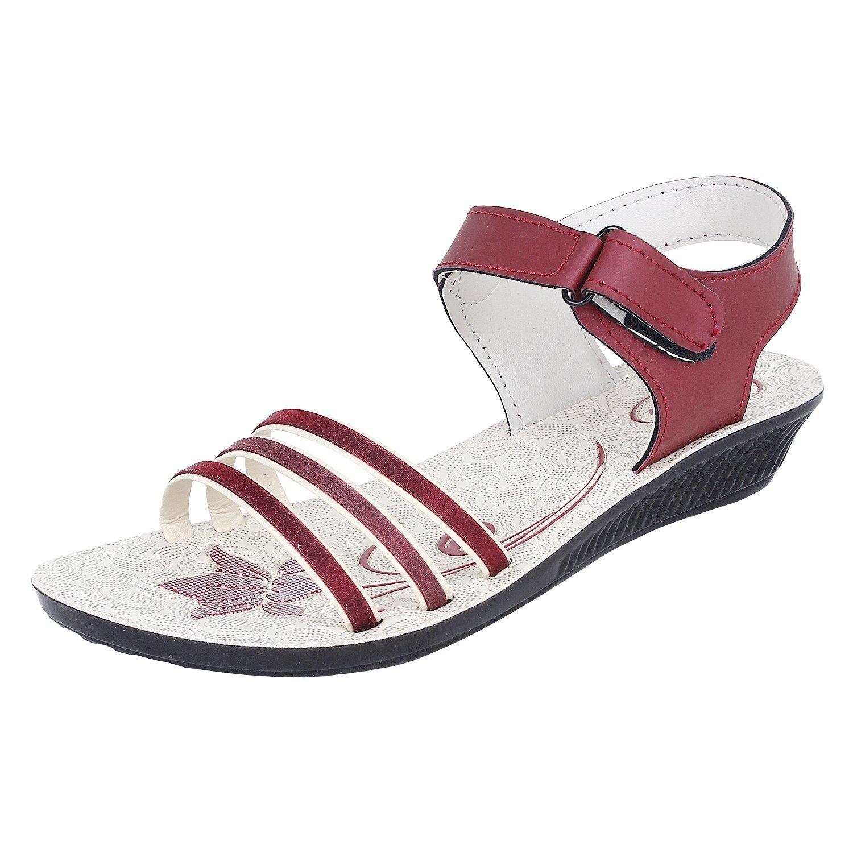 Earton Women's Footwear Maroon-817 Canvas Sandals (7 UK)