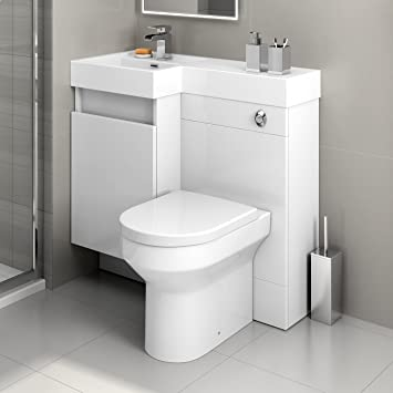 900 mm Modern Gloss White Bathroom Drawer Vanity Unit Basin Sink + Toilet Furniture Set