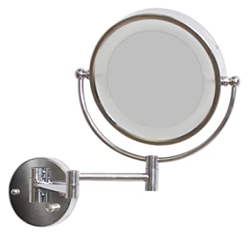 American Imaginations AI-11-557 Round LED Mirror with Light Dimmer and Dual 1x/5x Zoom, 8.5-Inch