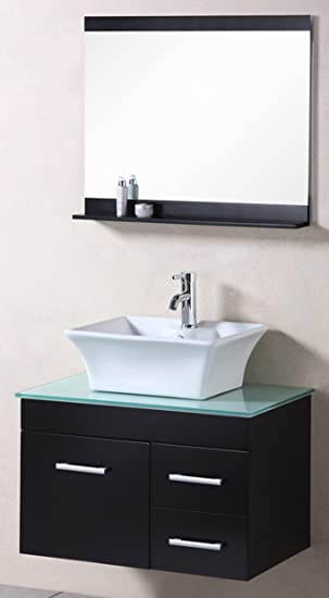 Design Element Madrid Wall-Mount Single Vessel Porcelain Square Sink Vanity Set, 30-Inch