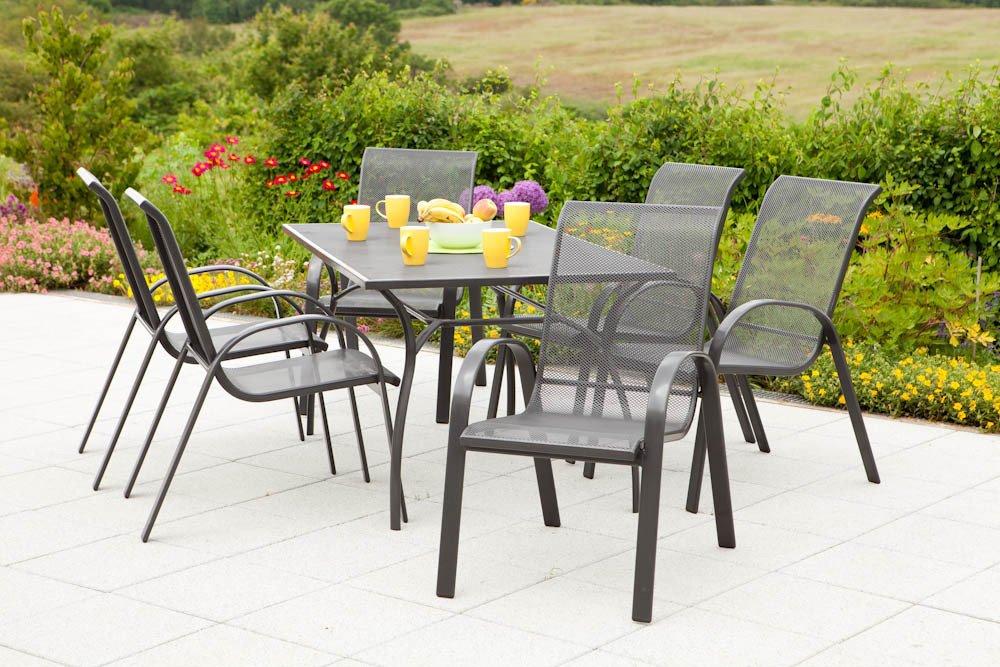 MERXX Gartenmöbel-Set Brescia 7-tlg. Stapelsessel, Tisch 150x90cm bestellen